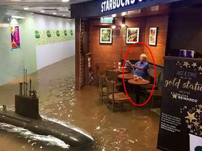 洪水中喝咖啡走红